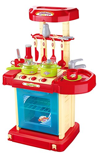 Vinsani Light And Sound Kids Pretend Play Cooking Kitchen Set With Pots Pans Play Food