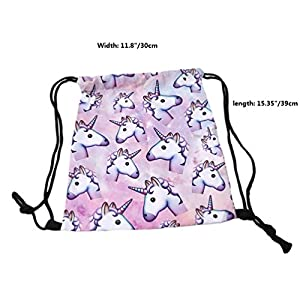 RICISUNG Unicorn Pattern Drawstring Gym Bag Cute Backpack Gift for Girls Women Polyester School Travel Shoulder Rucksack