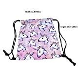 Chinget Unicorn Print Shoulder Bags Pink Cartoon Drawstring Backpack