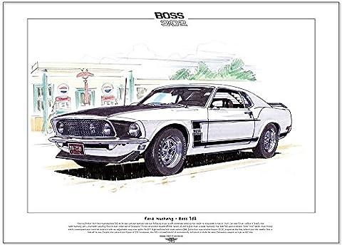 FORD MUSTANG BOSS 302 (1969/70) classic car print - A3