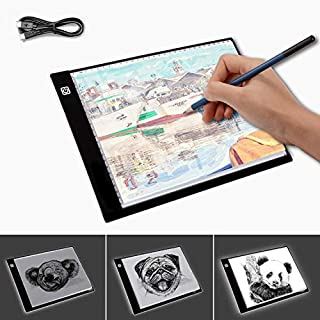 LED Light Box A4 Light Pad Ultra Slim Artcraft Drawing Board Stencil Tracing Tattoo Copy Table Pad with 3 Levels Brightness Graphics Tablets