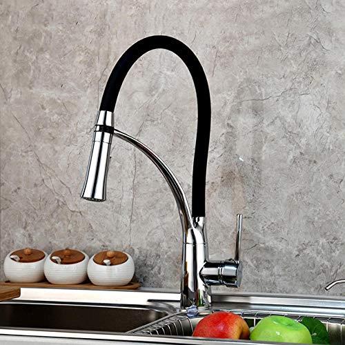 Massivem Messing poliertem Chrom Küchenwaschbecken Wasserhahn rotierenden schwarzen verstellbaren Pull-Down-Spray Küchenarmatur Wasserhahn (Küchenarmatur Pull-down-schwarz)