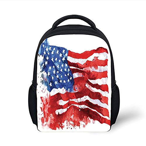Kids School Backpack American Flag Decor,National Paint Brush Watercolor Digital Stroke Messy Graffiti Artsy Decor,Red Blue Plain Bookbag Travel Daypack -