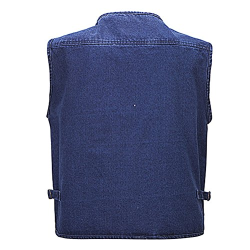 Zhhlaixing Guter Stoff Mens Outdoor Multipocket Fishing Working Denim Vest Waistcoat Gift for Father's Day Blue