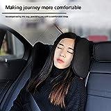 Gorgebuy Asiento para el reposacabezas del asiento para el automóvil Almohada para el cuello Soporte de nylon elástico alto en ambos lados Retráctil Cómodo y respetuoso del medio ambiente (Negro)