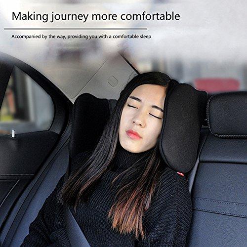 Preisvergleich Produktbild Ruier-hui Autokissen,Auto Hals Kissen,Nackenstütze aus hochelastisches Nylon,Nackenstütze für Autositz Kopfstütze, beiden Seiten Autositz Kopfstütze Nackenkissen,Auto Zubehör,schwarz