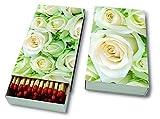 45 Zündhölzer - weiße Rosen 11 x 6,3cm