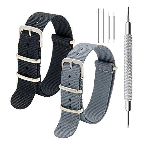 Nato Uhrband Packung mit 2 - 20mm 22mm Premium Ballistic Nylon Uhrenarmband mit Edelstahl Schnalle, Federstege Werkzeug und 4 Federsteges (Black+Smoke Grey, 18mm)