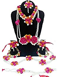 Pink Pearl Flower Gota Patti Jewellery Sets With Maang Tika, Bangles, Kamarband & Bajuband, Earrings For Women