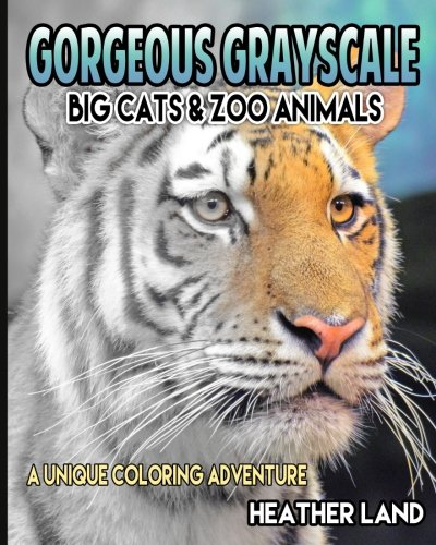 Gorgeous Grayscale Big Cats Zoo Animals Adult Coloring Book