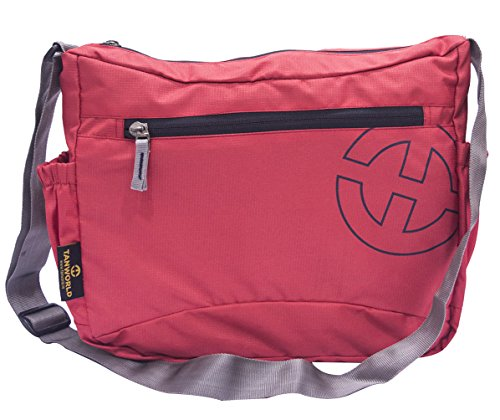 College Messenger Bag - Tanworld Crinoid Casual Shoulder Bag for Boys & Girls - Stylish Crossbody Satchel (TWMB01-Red)  available at amazon for Rs.299