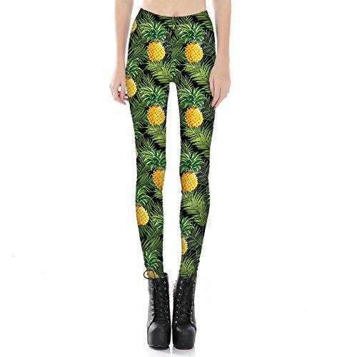 Trendy Ananas Drucken Leggins Lecker Fuit Dehnbar Strumpfhose Hose Für Frauen (Ananas Kleid)