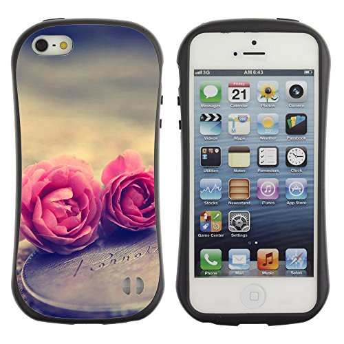 Graphic4You Red Heart Raindrops Design Harte Hülle Case Tasche Schutzhülle für Apple iPhone SE / 5 / 5S Design #2