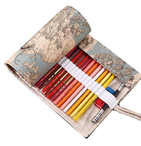 Quadrato materiale tela corda sistema disegni creativi studente matita borsa custodia portatile pratico elegante squisita (Piccolo Elk)