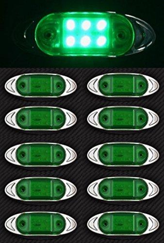 10 x 24 V 6 LED côté Outline Vert Feux de gabarit avec façade en plastique Chrome Camion benne Camion Remorque caravane camping-car Bus van extérieur ou intérieur Utilisation
