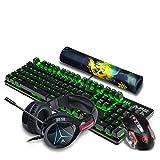 TD Mechanische Tastatur, Maus-Headset, elektronisches Spiel, Blaue Achse, Wasserdichte Multimedia-Taste USB2.0, Geeignet für Notebook/PC (Farbe : Black)