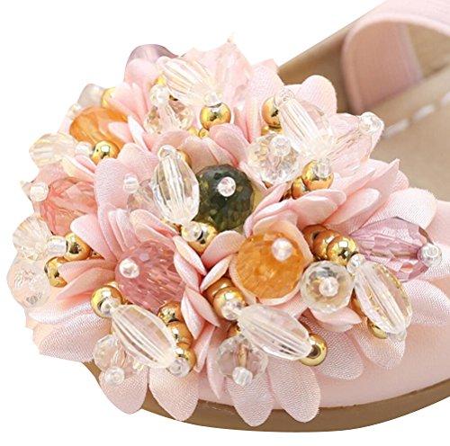 SMITHROAD Mädchen Prinzessin Schuhe Perlen Blumen Halbschuhe Casual Slipper Party Hochzeit Ballerinas Weiß Rosa Gr. 25 bis 35 Rosa mit Klettverschluss