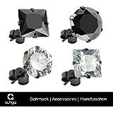 1 Paar Ohrstecker Zirkonia Edelstahl Damen Herren Ohrringe Kristall schwarz transparent - 2