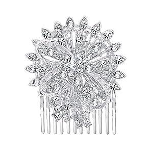 EVER FAITH Damen Haarkamm Kristall Hochzeit Prom Bankett Braut Blume Bowknot Haar Schmuck Klar Silber-Ton