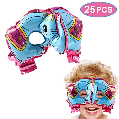 VAMEI 25 Piezas máscaras para los niños con elástico máscaras para Fiestas de cumpleaños Mascarada para niños Fiestas temáticas Favores Decoraciones (Elefante)
