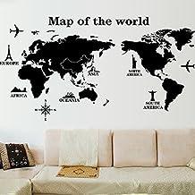 Zooarts Mapa del Mundo Negro Pegatinas de Pared Vinilo extraíble