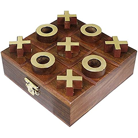 Giro de madera tic tac toe juego de mesa viaje - tres en raya rompecabezas juego - 3,8 x 11,4 x 11,4 cm
