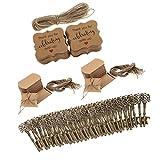 non-brand Sharplace 100er Pillow Box aus Kraftpapier + Schlüssel Flaschenöffner + Ettiketten + Juteschnur Set