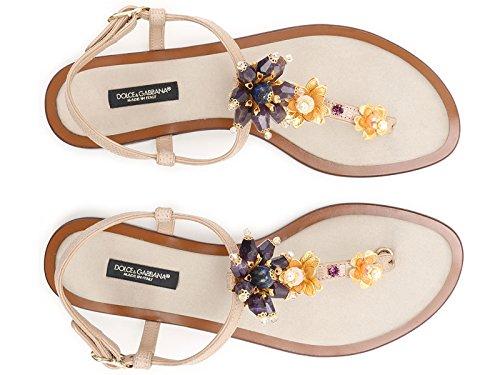 Dolce & Gabbana Spartiates en cuir couleur sable - Code modèle: CQ0073 AD330 80703 Sable