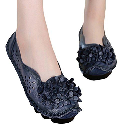 Vogstyle Damen Weinlese Blumen Handgemachte Lederschuhe Flats Art 7 Blau rLakcA9