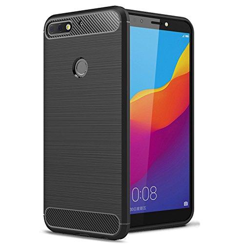 Voviqi Huawei Honor 7C Hülle, Tasche mit Stoßdämpfung Robuste TPU Silikon Schutzhülle Stylisch Karbon Design Handyhülle Case Hülle für Huawei Honor 7C (Schwarz)