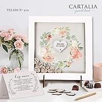 Guest book matrimonio cornice bianca con cuori di legno con decori floreali libro degli ospiti personalizzato con nomi e data delle Nozze Regalo Vintage