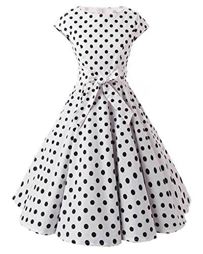MISSMAO Femme Robe Années 50 Vintage à Pois Jupe Plissée de Soirée Cocktail Robe de Rockabilly Swing Blanc Gros Noir Point