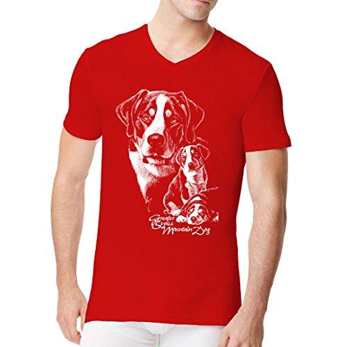 Im-Shirt - Shirt Motiv: Großer Schweizer Sennenhund cooles Fun Men V-Neck - verschiedene Farben Rot