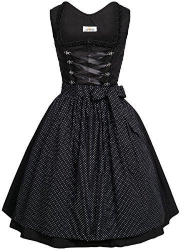 BEST-PRICE Midi Dirndl Amelie in schwarz von Almsach, Größe:48, Farbe:Schwarz