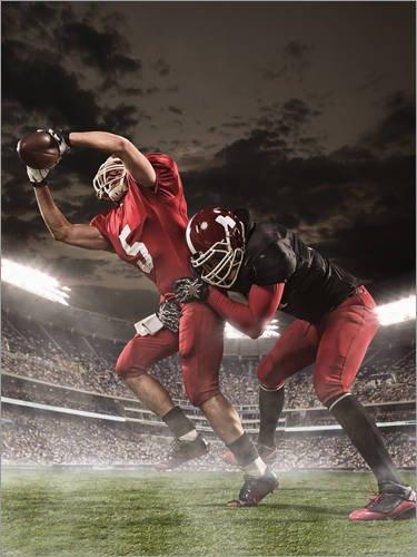 Posterlounge Holzbild 90 x 120 cm: American Football-Spieler in Aktion von Editors Choice