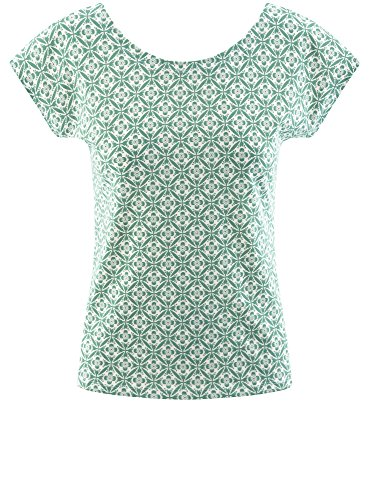 oodji Ultra Donna T-Shirt Larga in Cotone Verde (6912O)