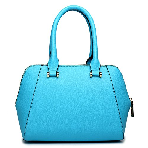 Miss Lulu - borsa da donna, effetto pelle, per spalla Multicolore (Azzurro)