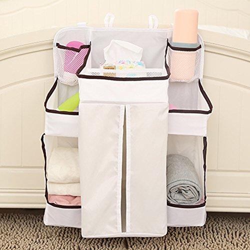 kuuboo Windelwechsel Organizer Nachttisch Organizer Net Baby Kindergartentasche zum Aufhängen Aufbewahrungstasche Becherhalter für Kleidung Bücher Handys Windeln Toys Babybett Bett Windel zum Aufhängen