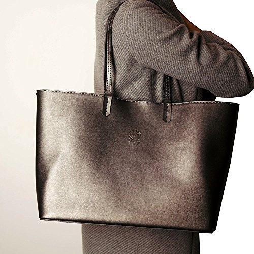 Para La Venta En Línea Barata Obtener Auténtica Línea Barata Borsa da donna grande in vera pelle - shopping bag (nero) Ferro Venta Barata Encontrar Gran Comprar Barato 2018 Unisex Barato Disfrutan GypCT
