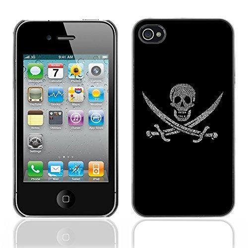 Graphic4You Pirate Flag with Skull Made of Words Design Harte Hülle Case Tasche Schutzhülle für Apple iPhone 4 und 4S Design #10