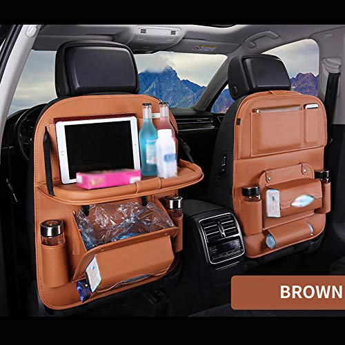 2 Stücke Pu-Leder Auto Rücksitz Organizer Einstellbare Autositz Zurück Aufbewahrungstasche mit Faltbare Esszimmer Tablet Halter Multi Taschen,F