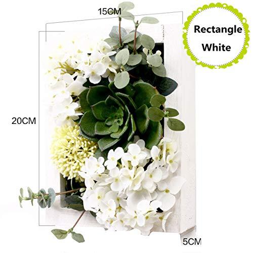 XINFU Home Wandbehänge Künstliche Fake Pflanzen Greenery Pflanzgefäß in Holz Rahmen für Home Dekoration Rectangle White Frame White Flower.