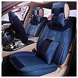 SJMLCF Neue Autositz Vier Jahreszeiten Universal Männer Und Frauen Winter Sitzbezug Leinen Leder Alle Umgeben Von Sitzbezug Kissen Auto Sitzbezug-Sets (Color : Blue)