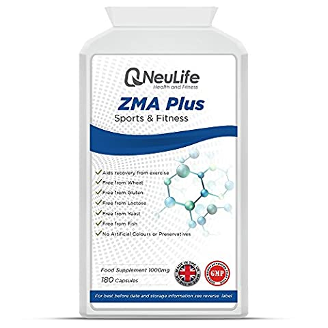 ZMA Plus 1000mg - 180 Capsules - by Neulife Health and Fitness