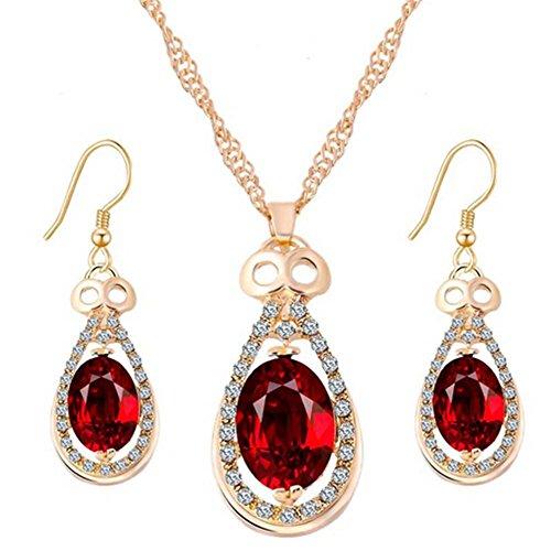 HYHAN Moda intarsio semplice cristallo collana in gioielli orecchini set , red (Cristallo Turchese Croce)