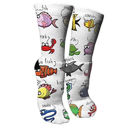 CVDGSAD Verrückte Socken Aquarium Cartoon Octopus Delphin Shark Whale Clown Fisch Quallen Einsiedlerkrebs Marine 3D Crew Socken -