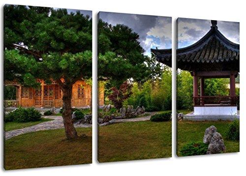 Formato Pagoda cinese: tre pezzi 120x80 totale, pittura su tela coperta, enormi Foto XXL completamente finito e incorniciate con barella, incorniciatura sulla foto parete con cornice, più conveniente che la pittura o l'immagine, senza manifesti o poster