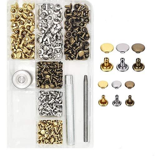 180 Set Leder Nieten Hohlnieten Metall Doppelkappen Bolzen mit Stanzen Werkzeug für Leder Handwerk DIY Deko in 2 Größen 6mm 8mm/3 Farben Silber Bronze Gold