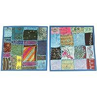 "Mogul Interior Handmade Cushion Cover Pillowcases Patchwork Embroidered Bed, Sofa Throw Decor 16""x16"" (Blue)"