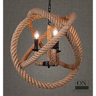 Wings of Wind® Morden Vintage Retro Hemp Rope Ceiling Lamp with Bulb